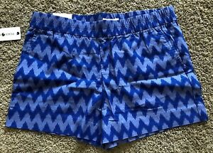Womens Blue Chevron Print Peace & Pearls Pull On Shorts Large