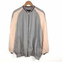 Rare Sold Out Zara Two Tone Silky Bomber Jacket Pale Grey Peach Pink M 10 12