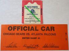 Rare 1985 Chicago Bears vs. Atlanta Falcons Press Photographers Pass Parking