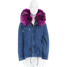 MR & MRS ITALY blue denim pink racoon fur trim army long parka jacket coat XS