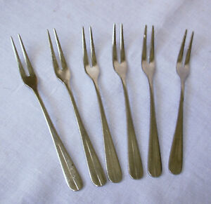 set 6 stainless Seafood Cocktail Forks 6 1/8 inch plain design 2 prong Japan