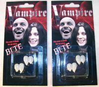 2 DELUXE  VAMPIRE TEETH costume play joke item vampires PROP dressup fangs new