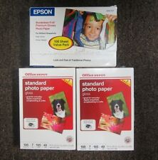 LOT OF 3 x New EPSON & Office DEPOT Photo Paper Inkjet 100 Sheets/ 4 x 6 Size