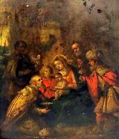 EPIPHANIE. HUILE SUR CUIVRE. ÉCOLE ITALIENNE. ITALIE. XVII-XVIIIÈME SIECLE