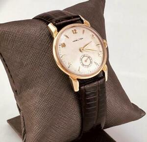 1952 HAMILTON KIRK 14K SOLID GOLD 17J Gr747 Mechanical Men Wrist Watch U.S.A RUN