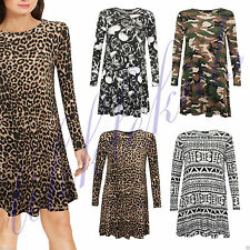 Crew Neck Animal Print Casual Dresses for Women