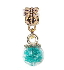Teal Fairy Dust Clear Glass Ball Green Gold Dangle Charm for European Bracelets