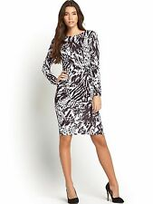 BNWT Lipsy Monochrome Animal Print Midi Wrap Dress Size 14 Stretch RRP £60
