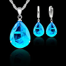 Sterling Silver Blue Crystal Pendant Necklace and Earring Set & Velvet Pouch UK