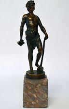 Original Bronze Skulptur Emanuel Scharfenberg Jüngling Hammer Schmied Höhe 26 cm