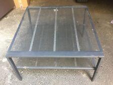 Table basse Ikea métal laqué gris plateau grillagé