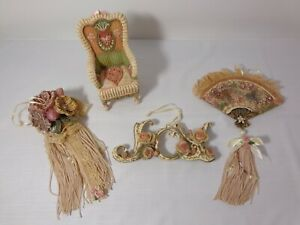 4 Vintage Cottage Victorian XMAS ORNAMENTS Shabby Romantic PINK ROSES&TASSELS