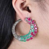 Genuine Ruby Emerald Dangle Earrings Sterling Silver Pave Diamond Fine Jewelry