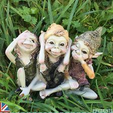 Three Pixies Garden Outdoor Elf Ornament Magical Hear See Speak No Evil 39106