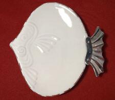 Mud Pie Sea Shell Line Terracotta FIGURAL FISH Soap/Dessert Dish w/Metal Tail