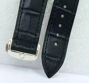Original Omega Black Color 18 mm Leather Band with Deployment