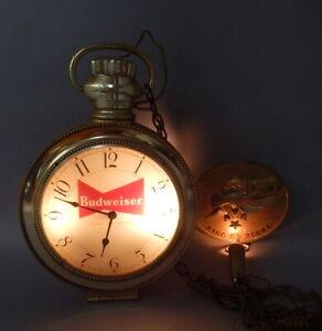 1959 Vintage Budweiser Anheuser Busch Pocket Watch Clock Light Advertising Sign
