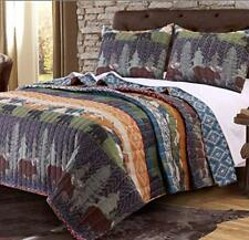 2 Piece Black Bear Brown Moose Quilt Twin Set Hunting Themed Bedding Striped