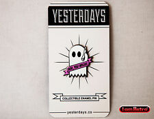 """Boo Ghost 1"""" Hard Enamel Black Nickel Plated Lapel Pin by Yesterdays.Co"""