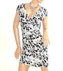 ABITO BIANCO NERO GRIGIO donna vestito manica corta pois scollo V dress E138