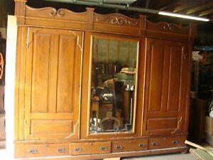 Antique Oak 10' Wide 2 Door Wardrobe w/ Dressing Mirror Center Tamaqua, Pa NICE