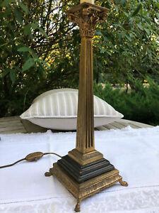 Très beau pied de lampe ancien style Empire Bronze Laiton Pattes de lion 45 cm