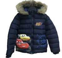 Boys Kids Children Disney Cars Fleece Lined Hooded Padded Winter Jacket 3-8 Yrs