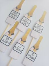 Personalised Happy Birthday Champagne Cup Cake Topper Decorations Picks X6