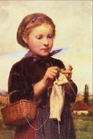 "stunning art 24x36 oil painting  handpainted on canvas ""girl knitting"""