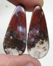NATURAL BLOOD STONE CABOCHON PEAR SHAPE PAIR 20.55 CTS LOOSE GEMSTONE D 5802