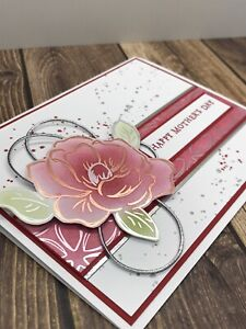 Stampin' Up Mother's Day Card Kit - Flowering Foils, Rose Gold Silver, Real Red