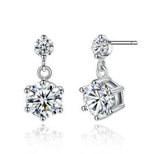 Double Round Crystal Womens white gold filled Drop dangle stud earrings korean