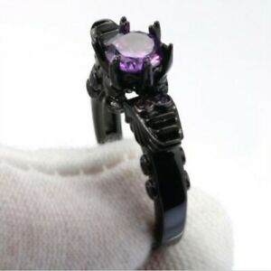 Black Gold Filled Purple Zircon Skull Heads Ring