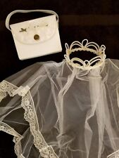 Vintage First Holy Communion Girls Lace Veil w Pearl Crown Tiara & Handbag Purse