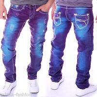 Herren Jeans ausgefallen Slim Fit Blau Lila Hose Clubwear Rainbow Neu J.5.6 9574