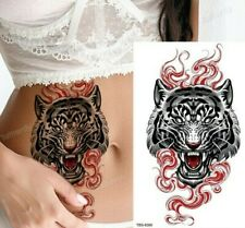 Red Fierce Tiger Face Waterproof Press on Tattoo Fake Sticker Women Mens Arm Leg
