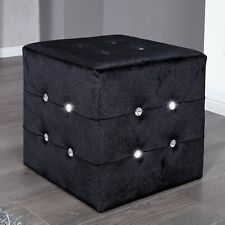 "STOOL ""GLAMOUR"" | black, 15.5""x15.5""x15.5"" | stool, crystals, comfy"