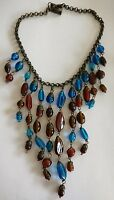 Antique  millefiori glass bead bib necklace