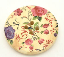 Pack of 10  Pretty Pink & Purple Floral Wood Painted Sewing Buttons 30mm 3cm