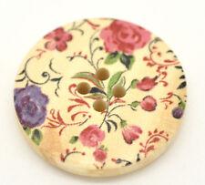 Paquete De 10 Pretty Pink & Purple Floral Botones de costura de madera pintado 30mm 3cm