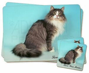 Norwegian Forest Cat 'Love You Mum' Twin 2x Placemats+2x Coasters Se, AC-54lymPC