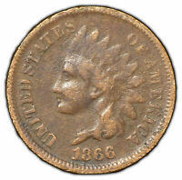 1866 1c Indian Head Small Cent - Key Date Coin - Fine Detail - SKU-Y1268