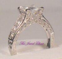2.75 Ct Princess Solitaire Pave Diamond cut Antique Engagement Ring Estate Style