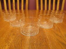 "Five Beautiful Iittala Flora 3"" Clear Glass Scandinavian Floral Design Bowls"