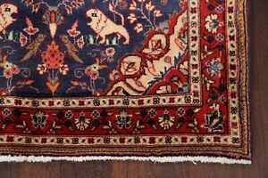 Animal Pictorial Navy Blue/Red Bidjar Hand-Knotted Wool Area Rug Traditional 3x5