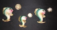 Vintage Lefton Fish Family With Three Bubbles Hanging Wall Plaque Mermaid
