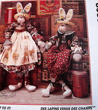 "Faye Wine Garden Bunny Easter Rabbit pattern 26/"" greeter doll boy /& girl"