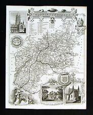 c. 1850 Thomas Moule Map Gloucestershire Gloucester Bristol Stratford England UK