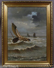 "19th C. Seascape Painting signed Edmond van der Haeghen ""Ships in Ocean Storm"""