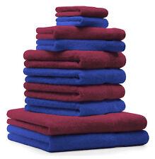 10-tlg. Handtuch Set Classic - Premium, Farbe: Royal-Blau & Dunkelrot, 2 Seiftüc